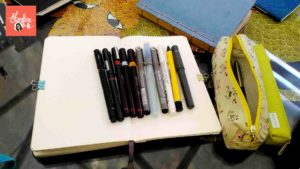 pens & books used by pen & ink artist